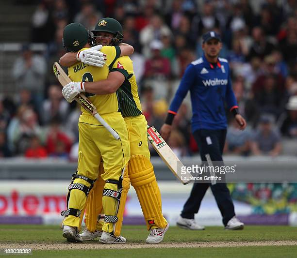 Aaron Finch and George Bailey of Australia celebrates victory during the 5th Royal London OneDay International match between England and Australia at...