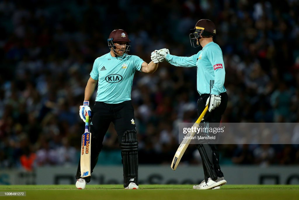 Aaron Finch and Jason Roy of Surrey come together in the middle during the Vitality Blast match between Surrey and Somerset at The Kia Oval on July 27, 2018 in London, England.