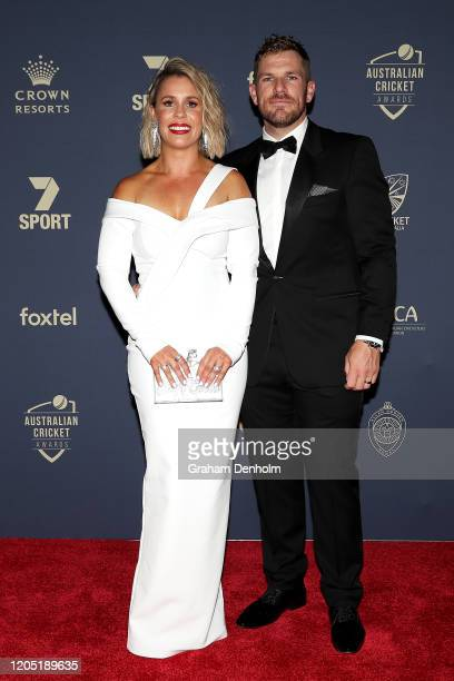 Aaron Finch and wife Amy Finch arrive ahead of the 2020 Cricket Australia Awards at Crown Palladium on February 10 2020 in Melbourne Australia