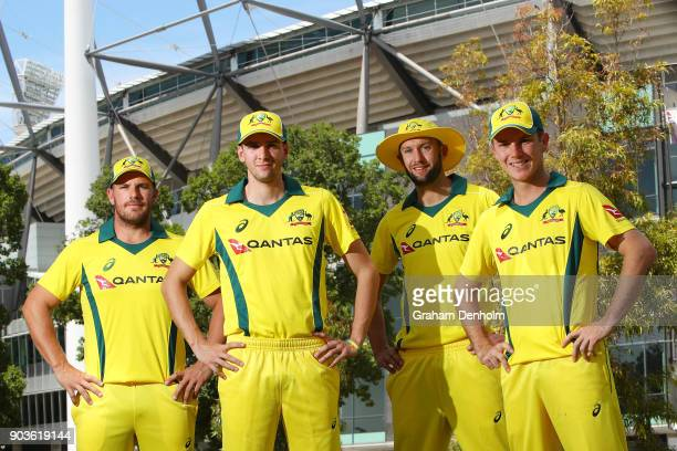Aaron Finch Jhye Richardson Andrew Tye and Adam Zampa of Australia pose during the One Day International Series Launch at Melbourne Cricket Ground on...