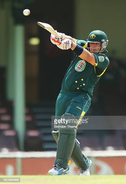 Aaron Finch of Australia 'A' bats during the International Tour match between Australia 'A' and the England Lions at Sydney Cricket Ground on...
