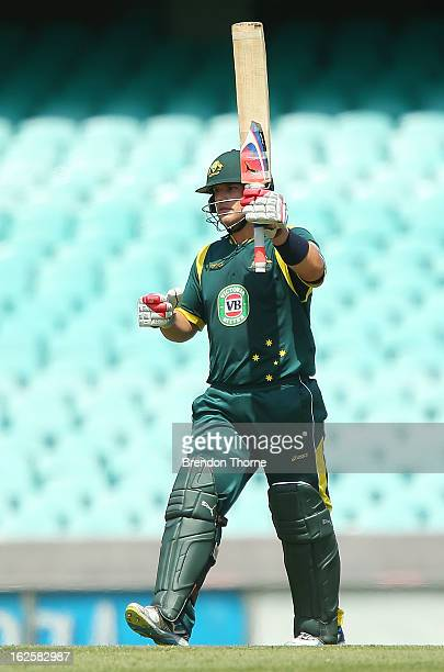 Aaron Finch of Australia 'A' celebrates scoring his century during the International Tour match between Australia 'A' and the England Lions at Sydney...