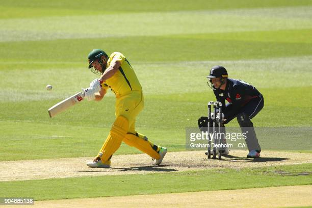 Aaron Finch of Australia bats during game one of the One Day International Series between Australia and England at Melbourne Cricket Ground on...