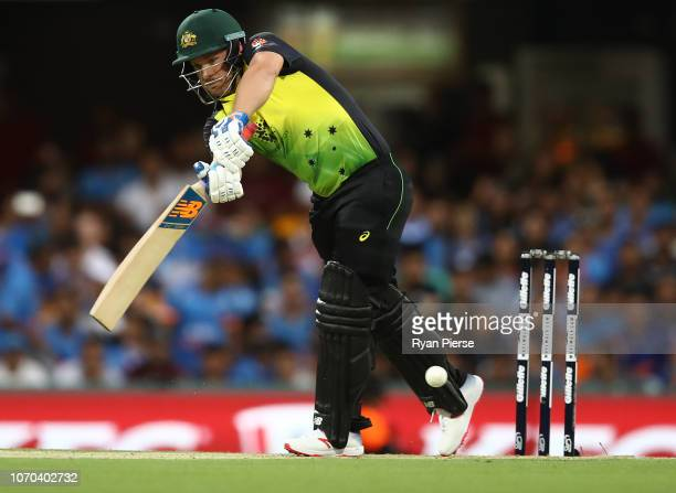 Aaron Finch of Australia bats during game one of the the International Twenty20 series between Australia and India at The Gabba on November 21 2018...