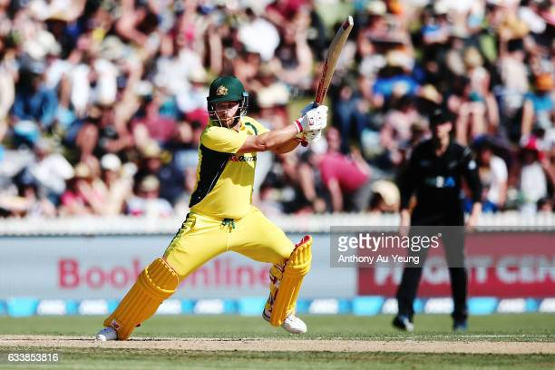 Aaron Finch of Australia bats during game three of the One Day International series between New Zealand and Australia at Seddon Park on February 5...