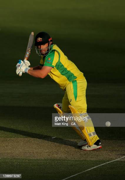 Aaron Finch of Australia bats during game three of the One Day International series between Australia and India at Manuka Oval on December 02, 2020...