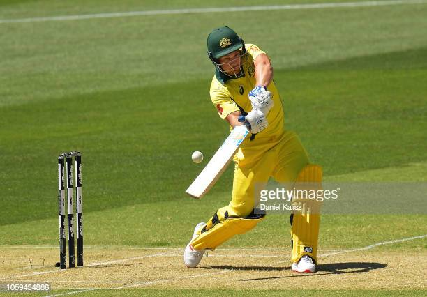 Aaron Finch of Australia bats during game two of the One Day International series between Australia and South Africa at Adelaide Oval on November 9...