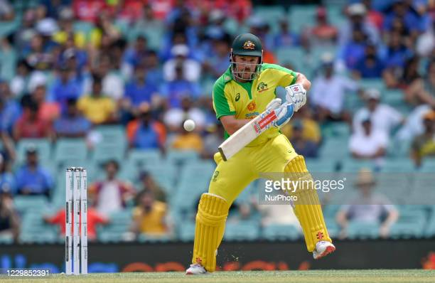 Aaron Finch of Australia bats during game two of the One Day International series between Australia and India at Sydney Cricket Ground on November...