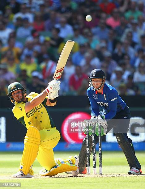 Aaron Finch of Australia bats during the 2015 ICC Cricket World Cup match between England and Australia at Melbourne Cricket Ground on February 14,...
