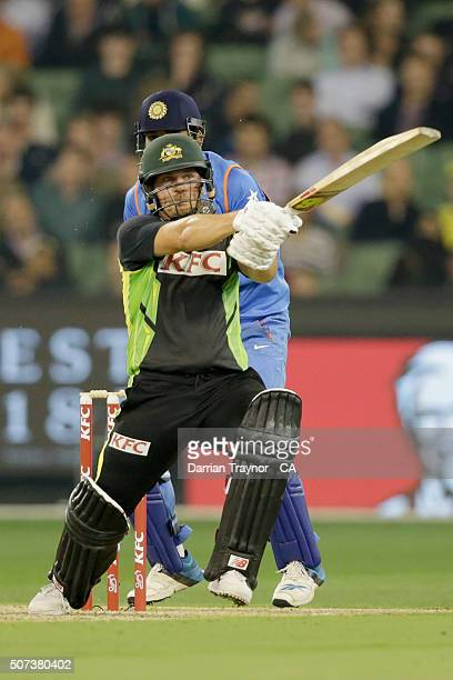 Aaron Finch of Australia bats during the International Twenty20 match between Australia and India at Melbourne Cricket Ground on January 29, 2016 in...