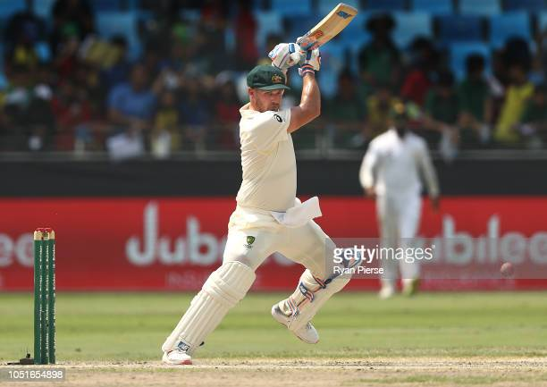 Aaron Finch of Australia bats in his Baggy Green Cap during day three of the First Test match in the series between Australia and Pakistan at Dubai...