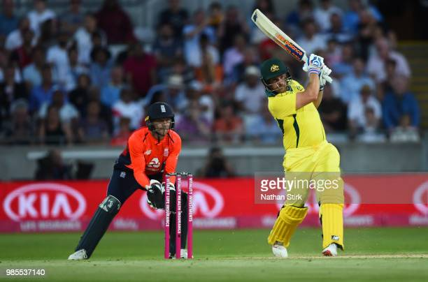 Aaron Finch of Australia batting during the 1st Vitality International T20 match between England and Australia at Edgbaston on June 27 2018 in...