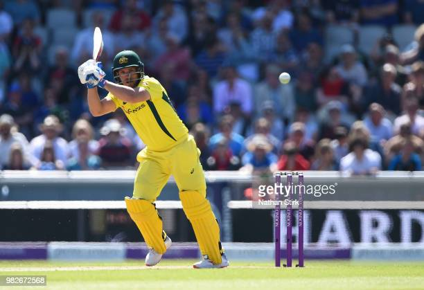 Aaron Finch of Australia batting during the 5th Royal London ODI match between England and Australia at Emirates Old Trafford on June 24 2018 in...