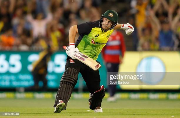Aaron Finch of Australia celebrates after hitting the winning runs during game two of the International Twenty20 series between Australia and England...