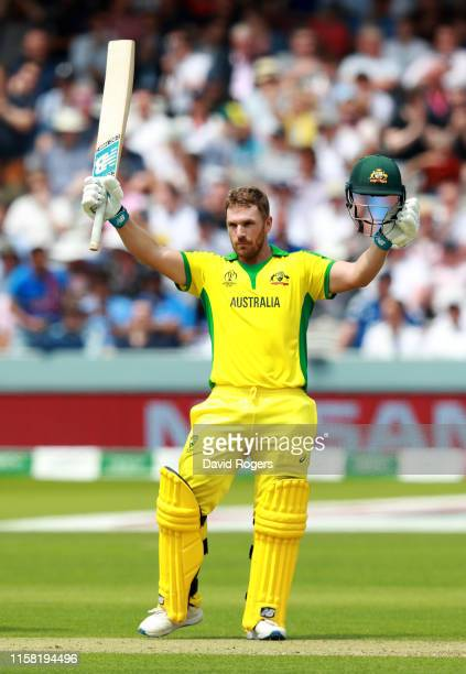 Aaron Finch of Australia celebrates after scoring a century during the Group Stage match of the ICC Cricket World Cup 2019 between England and...
