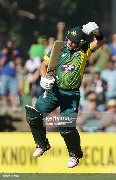 Aaron Finch of Australia celebrates after scoring a century during game three of the One Day International Series between Australia and South Africa...