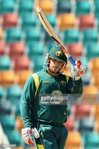 Aaron Finch of Australia celebrates his half century during the International Tour match between Australia 'A' and the England Lions at Blundstone...