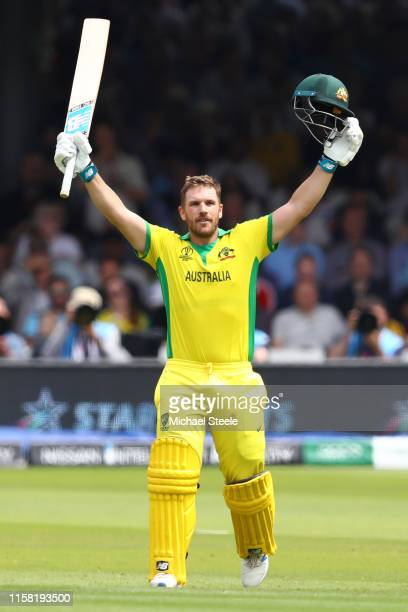 Aaron Finch of Australia celebrates reaching his century during the Group Stage match of the ICC Cricket World Cup 2019 between England and Australia...