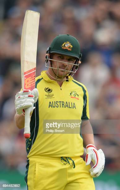 Aaron Finch of Australia celebrates reaching his half century during the ICC Champions Trophy match between England and Australia at Edgbaston...