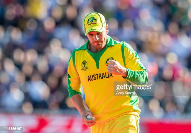 Aaron Finch of Australia celebrates taking a catch to dismiss Carlos Brathwaite of West Indies during the Group Stage match of the ICC Cricket World...