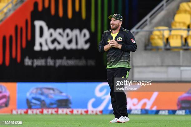 Aaron Finch of Australia during game four of the International T20 series between New Zealand Blackcaps and Australia at Sky Stadium on March 05,...