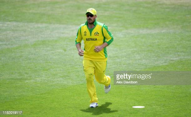 Aaron Finch of Australia during the ICC Cricket World Cup 2019 Warm Up match between Australia and Sri Lanka at The Hampshire Bowl on May 27 2019 in...
