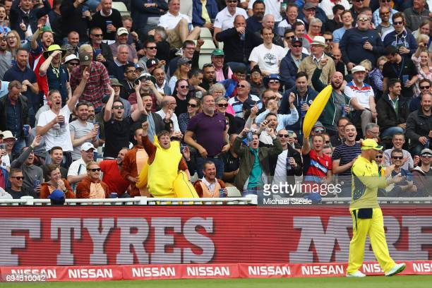 Aaron Finch of Australia fields in front of the Holt Stand during the ICC Champions Trophy match between England and Australia at Edgbaston on June...