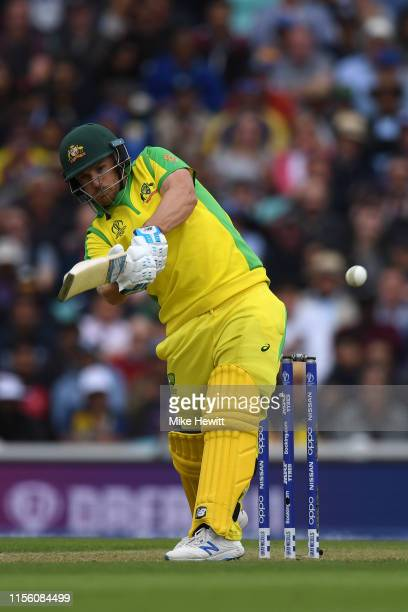 Aaron Finch of Australia hits a boundary to bring up his 150 during the Group Stage match of the ICC Cricket World Cup 2019 between Sri Lanka and...