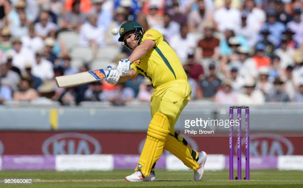 Aaron Finch of Australia hits a six during the fifth Royal London OneDay International match between England and Australia at Emirates Old Trafford...