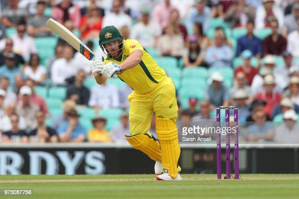 Aaron Finch of Australia hits out during the 1st Royal London ODI between England and Australia at The Kia Oval on June 13 2018 in London England