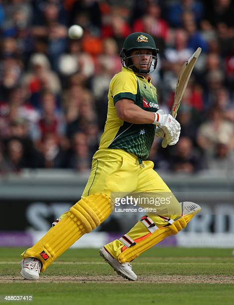 Aaron Finch of Australia hits out during the 5th Royal London OneDay International match between England and Australia at Old Trafford on September...