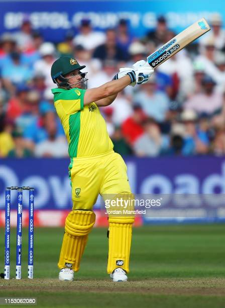 Aaron Finch of Australia hits out during the Group Stage match of the ICC Cricket World Cup 2019 between Afghanistan and Australia at Bristol County...