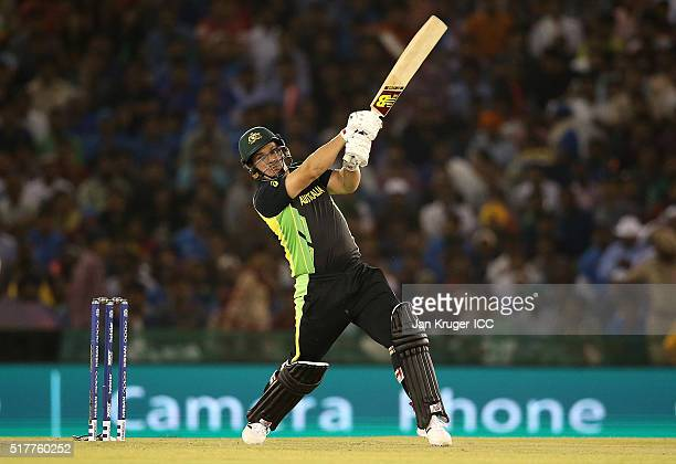 Aaron Finch of Australia hits out during the ICC World Twenty20 India 2016 Super 10s Group 2 match between India and Australia at IS Bindra Stadium...