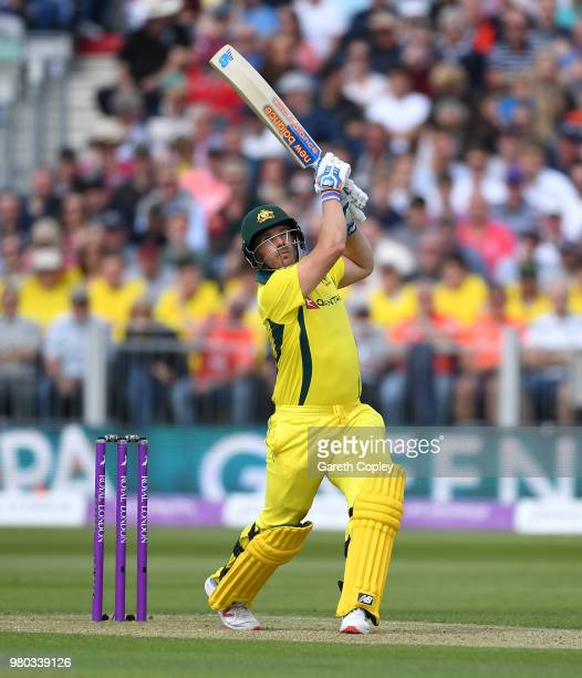 Aaron Finch of Australia hits out for six runs during the 4th Royal London One Day International between England and Australia at Emirates Durham ICG...