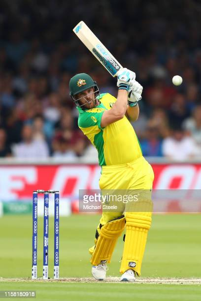 Aaron Finch of Australia hits straight during the Group Stage match of the ICC Cricket World Cup 2019 between England and Australia at Lords on June...