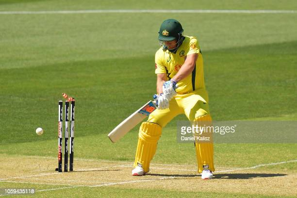 Aaron Finch of Australia is bowled by Dwaine Pretorius of South Africa during game two of the One Day International series between Australia and...
