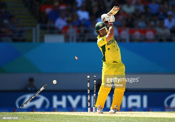Aaron Finch of Australia is bowled by Tim Southee of New Zealand during the 2015 ICC Cricket World Cup match between Australia and New Zealand at...