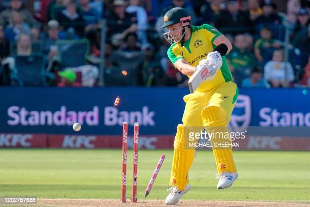 Aaron Finch of Australia is bowled during the second T20 international cricket match between South Africa and Australia at the St George's Park...