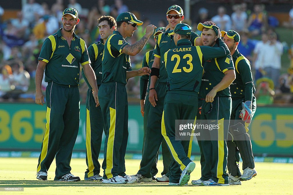 Aaron Finch of Australia is congratulated after taking a catch off Kieron Pollard of the West Indies during game two of the Commonwealth Bank One Day International Series between Australia and the West Indies at WACA on February 3, 2013 in Perth, Australia.