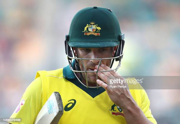 Aaron Finch of Australia looks dejected after being dismissed by Lungi Ngidi of South Africa during game three of the One Day International series...