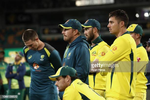 Aaron Finch of Australia looks dejected after game three of the One Day International series between Australia and South Africa at Blundstone Arena...