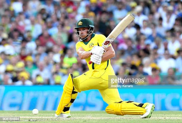 Aaron Finch of Australia plays a shot during game three of the One Day International series between Australia and England at Sydney Cricket Ground on...