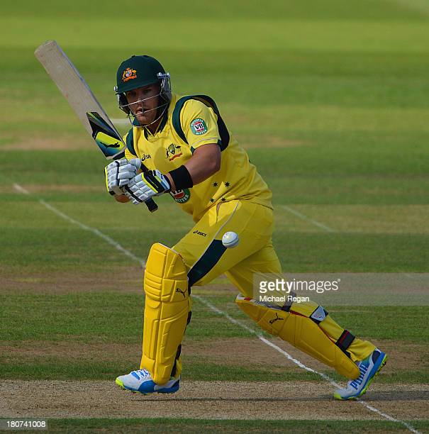 Aaron Finch of Australia plays a shot during the 5th NatWest Series ODI between England and Austalia at the Ageas Bowl on September 16 2013 in...