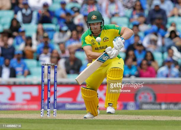 Aaron Finch of Australia plays a shot during the Group Stage match of the ICC Cricket World Cup 2019 between India and Australia at The Oval on June...