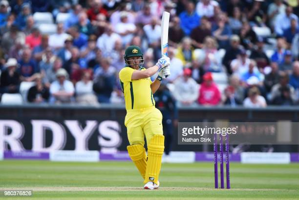 Aaron Finch of Australia plays the pull shot while batting during the 4th Royal London ODI match between England and Australia at Emirates Durham ICG...