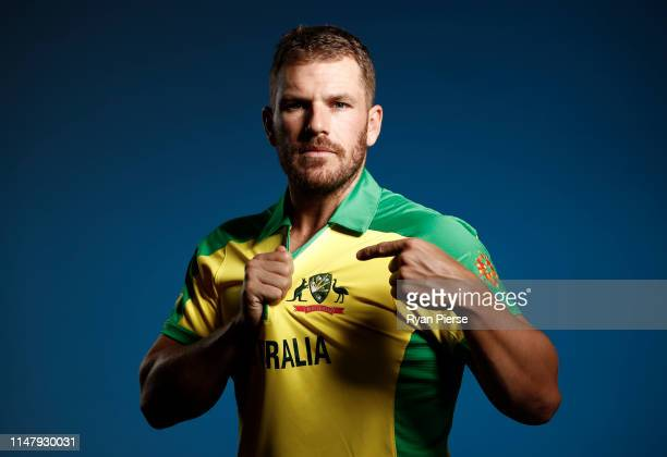 Aaron Finch of Australia poses during an Australia ICC One Day World Cup Portrait Session on May 07 2019 in Brisbane Australia