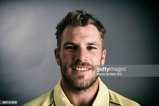 Aaron Finch of Australia poses during the Australia 2015 ICC Cricket World Cup Headshots Session at the Intercontinental on February 7 2015 in...