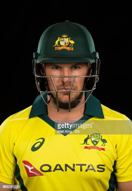 Aaron Finch of Australia poses during the Australia cricket team portrait session at Intercontinental Double Bay on October 15 2017 in Sydney...