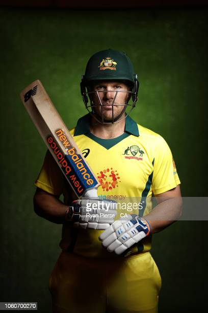 Aaron Finch of Australia poses during the Australian Men's One Day International Squad Headshots Session on September 17 2018 in Brisbane Australia