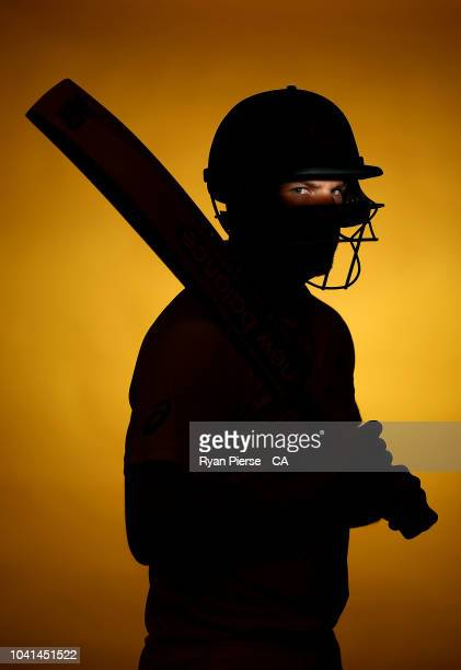 Aaron Finch of Australia poses during the Australian Men's Test Portrait Session on September 17 2018 in Brisbane Australia